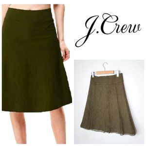 J. CREW 100% Lambs Wool Army Green A-Line Skirt